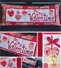 """""""Be My Valentine"""" ~ quilted bench pillow cover, finished size 16"""" x 38"""", with bow accents ~ $9 pattern 