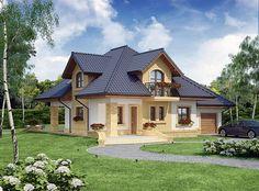 Projekt domu z poddaszem Solon o pow. 131,23 m2 z garażem 1-st., z dachem kopertowym, z tarasem, sprawdź! Beautiful House Plans, Dream House Plans, House Construction Plan, Kerala House Design, Simple House Design, Kerala Houses, Villa, My Ideal Home, Prefabricated Houses