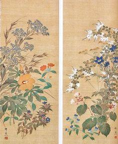 (Japan) Autumn flowers, a pair of Japanese hanging scrolls by Suzuki Kiitsu Botanical Drawings, Botanical Art, Japanese Art Styles, Art Chinois, Art Japonais, Japanese Flowers, Korean Art, Japanese Painting, Japan Art