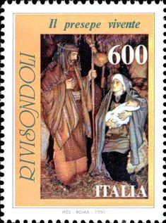 1991 - Santo Natale - Presepe vivente di Rivisondoli - scena della Madonna con Giuseppe e il Bambino tratta direttamente dalla rappresentazione religiosa annuale che si svolge a Rivisondoli