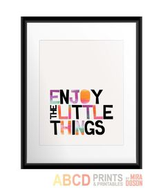 Inspirational quote print Enjoy the little things 8x10. $11.00, via Etsy.
