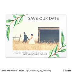 Green Watercolor Leaves and Photo | Wedding Save the Date Magnetic Card