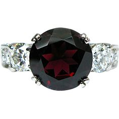 Preowned Rhodolite Garnet Diamond Platinum Cocktail Ring ($4,175) ❤ liked on Polyvore featuring jewelry, rings, multiple, band rings, red diamond ring, garnet diamond ring, graduation rings and pave band ring