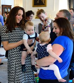 4/9/2014: The Royal New Zealand Plunket Society Parent's Group at Government House, with Prince George, Paige Stevens, & Jenny Stevens (Wellington, New Zealand)