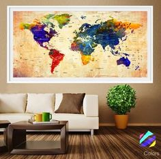 XL Poster Push Pin World Map travel cities Art by PosterBoxColors