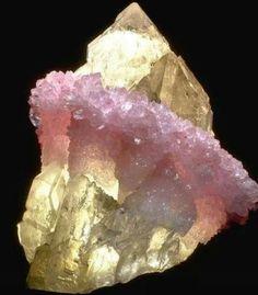 Rose quartz encrusted citrine beautiful