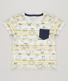 bc594c3526 Camiseta Infantil Estampada Fundo do Mar com Bolso Manga Curta Gola Careca  Cinza Mescla Claro