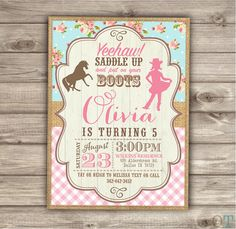 Horse Cowgirl Invitations Birthday Rustic Lace by cardmint on Etsy
