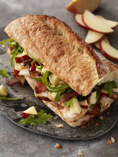 Turkey, Bacon & Apple Sandwich is perfect for anyone who loves apples and BLTs. This sandwich features crisp apple slices, applewood-smoked bacon, and Panera® Fuji Apple Vinaigrette Dressing.