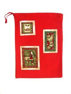 Christmas Red Drawstring Bag, Drawstring Gift Bag, Festive Gift Bag,  £4.00