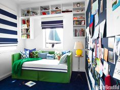 A trundle bed maximizes space in this kid's room.