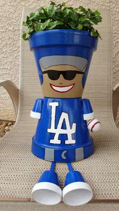 LA Dodgers baseball player - clay pot person - terra cota pot, acrylic paint, ribbon & golf ball - garden art - image only