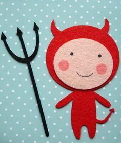 Bügelbild Teufel   ca 5x8 cm groß    rot     Verziere damit deine gekauften oder selbstgenähten Kleidungsstücke    Anleitung zum Aufbügeln liegt bei.