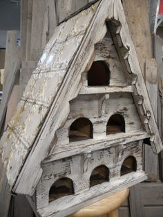 Large antique dovecote made using real antique barnwood, reclaimed lumber and antique ceiling tins. Cottage Chic, Bird House Feeder, Bird Feeders, Pigeon House, Palomar, Bird House Kits, Bird Cages, Kit Homes, Animal House