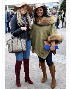 Two friends looked in great spirits as they arrived to enjoy a day of sporting action on what's predicted to be a dry day with sunny spells Country Wear, Country Fashion, Country Outfits, Horse Race Outfit, Races Outfit, Race Day Fashion, Races Fashion, Cheltenham Horse Racing, Fairfax And Favor