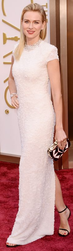 Naomi Watts in a custom Calvin Klein Collection gown at the Academy Awards. #redcarpet #oscars