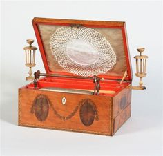 18thC satinwood and inlaid sewing box with enlarged tambour stand and a pair of winding clamps