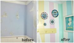 Amazing what a little paint can do! Everyday is a Holiday: a little tour of our Salt Water Taffy Striped Bathroom
