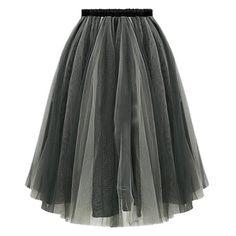 Ladylike Women's Elastic Waist Mesh Spliced Skirt