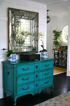 turq dresser - love the mirror, love the turquoise dresser, love it all