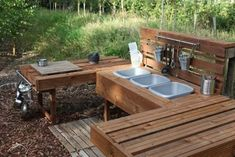 awesome Top 20 of Mud Kitchen Ideas for Kids Mud kitchen (also known as an outdoor kitchen or mud pie kitchen) is one of the best resources in DIY projects for kids to play outside as kids playhouse.