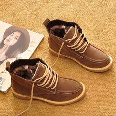 זול מגפי שלג נשים באיכות גבוהה מותג מקרית תחרה עד קרסול מגפי חורף 2016 סתיו של נשים נעלי חורף מגפי קטיפה T022, לקנות איכות המגפיים של נשים ישירות מספקי סין: New 2016 Spring and Autumn Air Cushion Shoes Women Breathable Walking Casual Shoes Ladies Flats Lace Up Brand Shoes Y024
