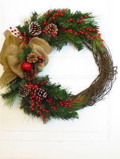Christmas Wreath Burlap Bow on Christmas Wreath by Dazzlement, $59.00