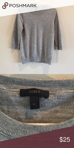 J.Crew Merino Wool Sweater J.Crew 100% Merino Wool Sweater in Grey; Size M; 3/4 length sleeves; In Very Good Condition; Light-weight and perfect for spring and fall! J. Crew Sweaters Crew & Scoop Necks