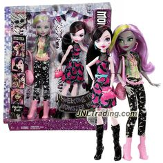 Mattel Year 2015 Welcome to Monster High Series 2 Pack 11 Inch Doll Set - DRACULAURA & MOANICA D'KAY DNY33 with 2 Purses and Hairbrush