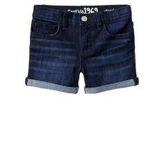 $19, Navy Denim Shorts: Gap Classic Dark Denim Shorts. Sold by Gap. Click for more info: https://lookastic.com/women/shop_items/43469/redirect