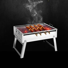 ==> [Free Shipping] Buy Best 220801/Thickening stainless steel BBQ grill outdoor portable bbq charcoal household folding barbecue box spitrack Online with LOWEST Price | 32696190048