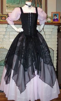 Items similar to Renaissance Pirate Gown Dress costume naughty Wench Womens Costume Pink black on Etsy Renaissance Corset, Renaissance Dresses, Medieval Dress, Renaissance Pirate Costume, Pirate Wedding Dress, Pirate Dress, Lady Pirate, Wench Costume, Costume Dress