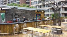 Oasis Bar Waterfall up on the rooftop   #Rockscapes #fakerock #artificialrock