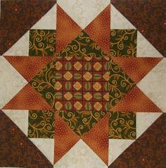 Chock-A-Block Quilt Blocks: Morning Star Variation  12.5""