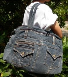 Vintage Recycled Denim Jeans Tote Satchel School Shoulder Bag Handbag Purse