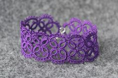 "Unique bracelet in purple colour. It's made of cotton thread using shuttle tatting technique and then slightly stiffened. Closes with a small lobster clasp. [gallery link=""file"" i… Tatting Bracelet, Lace Bracelet, Tatting Jewelry, Lace Jewelry, Trendy Jewelry, Jewelry Crafts, Women Jewelry, Crochet Bracelet, Unique Bracelets"