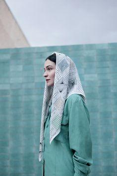 """Blacksmith"" silk scarf by SuTurno / Photo: Lourdes Cabrera / Model: Andrea Pimentel SuTurno Blacksmith SS15"