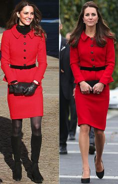 Kate Middleton in a red Luisa Spagnoli suit in 2011 and 2014
