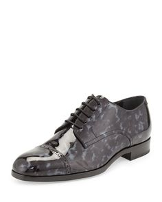 N34VK Jimmy Choo Prescott Tortoise Patent Leather Lace-Up Shoe, Black/Gray