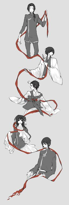 Tetra Takamine Mangaka Axis Powers: Hetalia Series China Character Hong Kong Character Japan Character South Korea Character Taiwan Character Black Eyes Chinese Clothes Gray Background Holding Weapon Korean Clothes Looking To Side Quintet Red Ribbon Red Thread Serious String GIF Conversion Source Allied Forces Character Group Asian Countries Character Group Axis Power Countries Character Group