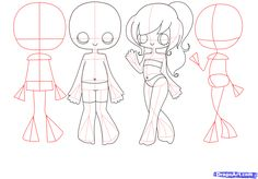 How to Draw Chibi Bodies, Step by Step, Chibis, Draw Chibi, Anime ...