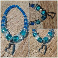 #bracelet #pendant #heart #blue #handmade