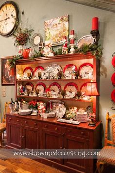 Christmas display. Gorgeous way to display all of your Christmas china. French Country Christmas