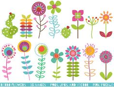 Retro Flower Clipart Clip Art, Vintage Flower Clip Art Clipart Vectors - Commercial and Personal Use