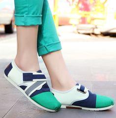Women's #green nubuck leather #slipon shoes, multi color pattern, convenient velcro closure, denim upper vamp.