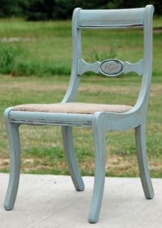 Picked up chair off of the side of the road, recovered the seat with burlap bag left over from an oyster roast, added some Annie Sloan Chalk Paint in Louis Blue, some dark wax and a monogram.  Perfect birthday gift for a great friend. #etcfurniture #edenton