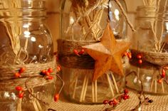Rustic Table decor set of 3 Mason Jars with Barn Stars, Twine and Pip Berries