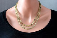 Faceted Green Garnet Necklace Double Strand by ThePassionatePearl, $210.00 #FacetedStone #GreenGarnet #GreenNecklace #GreenGarnetJewelry