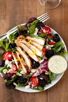 salad with berries, grilled lemon chicken, feta and poppy seed dressing. I LOVE this salad! (This salad is really good. I do not recommend the feta with poppy seed dressing. Healthy Salads, Healthy Eating, Healthy Recipes, Healthy Food, Delicious Recipes, Tasty, Grilled Lemon Chicken, Feta Salad, Berry Salad