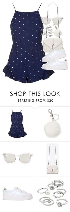 """""""Outfit for summer with a spotted playsuit and sneakers"""" by ferned ❤ liked on Polyvore featuring Topshop, Michael Kors, Dolce&Gabbana, Yves Saint Laurent, No Name and Candie's"""